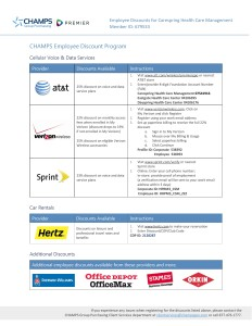 Carespring CHAMPS Customized Employee Discount Program Document